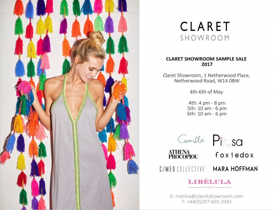 Claret showroom sample sale 2017 -- Sample sale in London