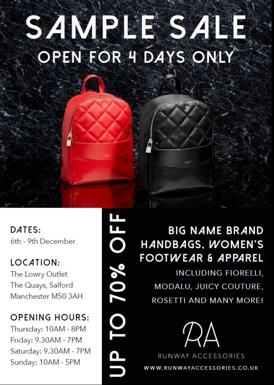 8413556cd7 Visit our pop-up shop at unit F15 within the Lowry Outlet, and enjoy up to  70% off handbags, women's footwear, women's and girls' apparel from top  name ...