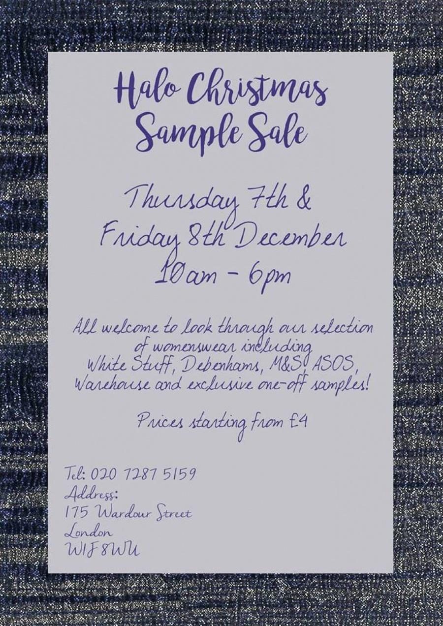 Halo Christmas Sample Sale -- Sample sale in London