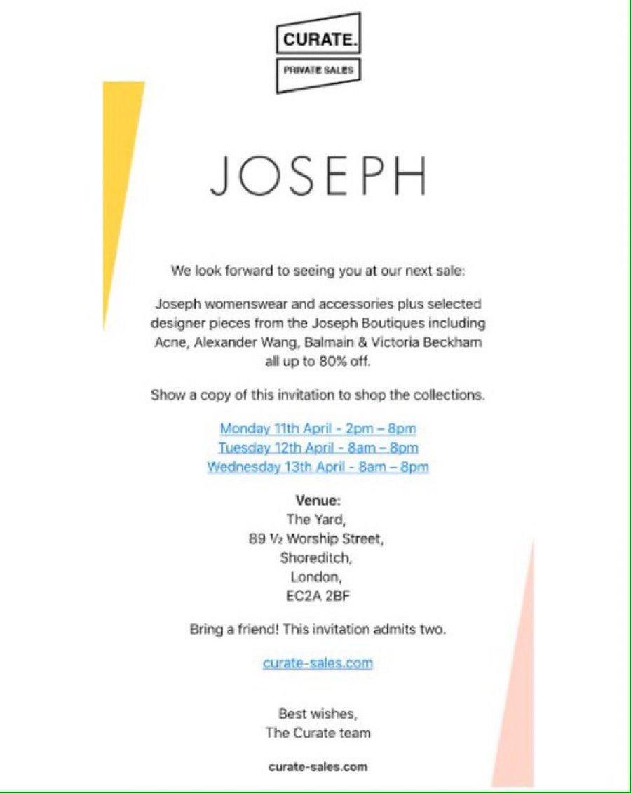 Joseph sample sale -- Sample sale in London