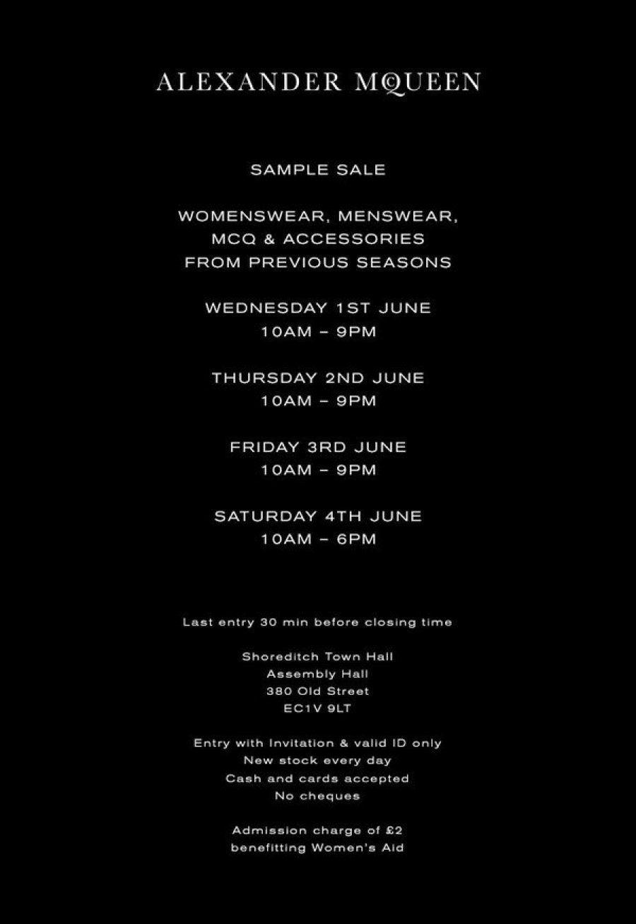 9d43d9559f9 Alexander McQueen Sample Sale  womenswear