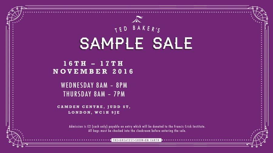 37039f51d4b4 Sample Sale Ted Baker -- Sample sale in London