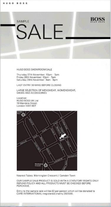 Hugo Boss Sample Sale -- Sample sale in London